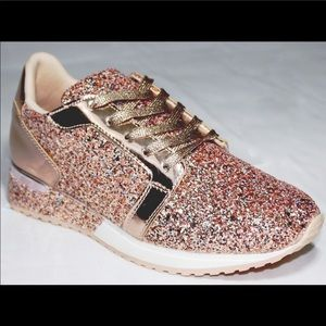 Rose Gold glittery tennis shoes